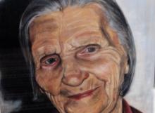 Porträtt på mormor Judit i torrpastell, 65 x 45 cm.