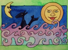 Illustration nr 1. ..en rofylld planet... (akvarell)