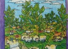 """Illustration nr. 6 """"..små ulliga lamm.."""" (akvarell)"""